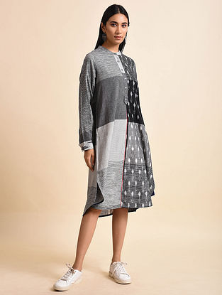 Grey Leaf and Bud Grey Handwoven Ikat Cotton Dress