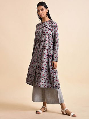 Grey Maroon Double Diamond Handwoven Ikat Cotton Kurta