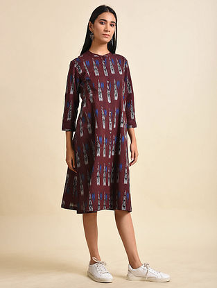 Red Mountain Handwoven Ikat Cotton Dress