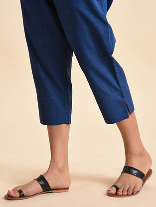 Ink Blue Handwoven Ikat Cotton Capri Pants