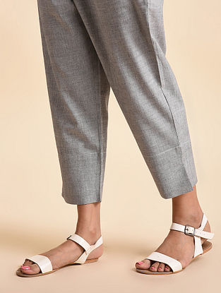 Grey Ksmis Handwoven Ikat Cotton Capri Pants