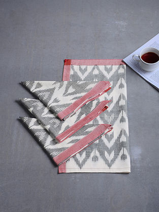 Grey-White Woven Hand Dyed Pochampally Ikat Cotton Table Napkins (Set of 4) (17in x 17in)