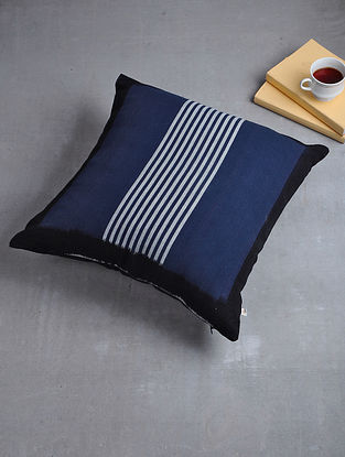 Blue-Black Woven Hand Dyed Pochampally Ikat Cotton Cushion Cover (18in x 18in)