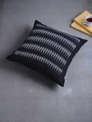 Black Woven Hand Dyed Pochampally Ikat Cotton Cushion Cover (17in x 17in)