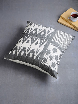 Grey-White Woven Hand Dyed Pochampally Ikat Cotton Cushion Cover (17.5in x 17.5in)