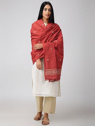 Red-Beige Natural-dyed Eri Silk Shawl with Assamese Motifs and Tassels