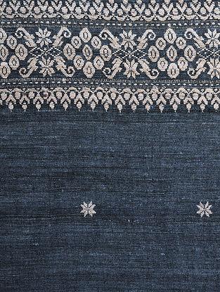 Indigo-Beige Natural-dyed Eri Silk Shawl with Assamese Motifs and Tassels