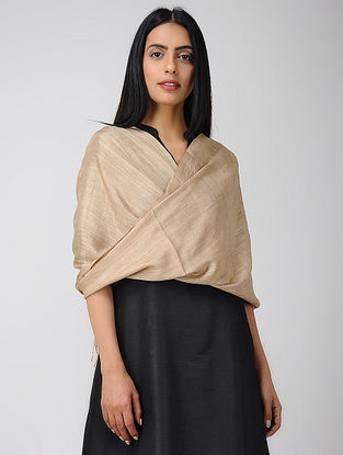 Beige Natural-dyed Mulberry Silk Stole