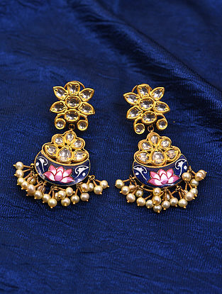 Blue Pink Enameled Gold and Diamond Earrings with Pearls