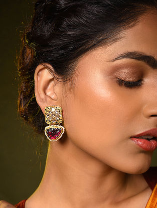 Gold and Diamond Earrings with Pink Tourmaline and Pearls