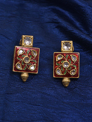 Red Green Meenakari Gold and Diamond Earrings