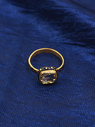 Blue Enameled Gold and Diamond Ring (Ring Size: 7.5)