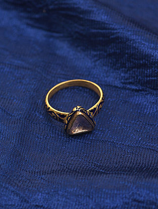 Blue Enameled Gold and Diamond Ring (Ring Size: 8)