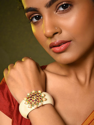 Gold and Diamond Cuff with Ruby and Pearls