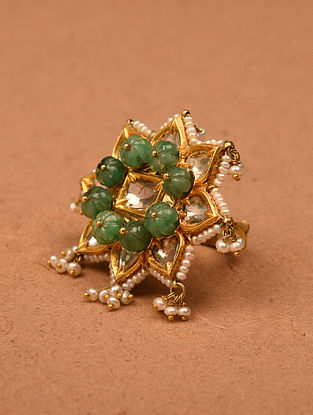 Gold and Diamond Adjustable Ring with Emerald Melons