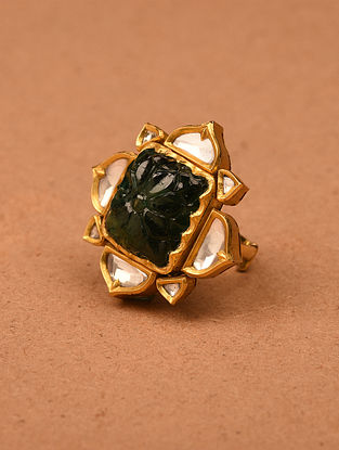 Gold and Diamond Adjustable Ring with Carved Emerald