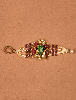 Gold and Diamond Bracelet with Multi Tourmaline and Pearls