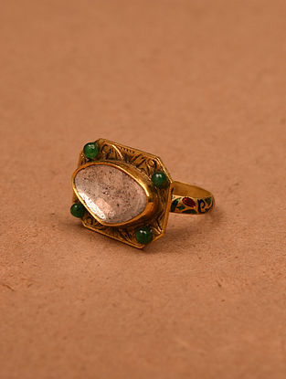 Gold and Diamonds Ring with Emeralds (Ring Size: 8)