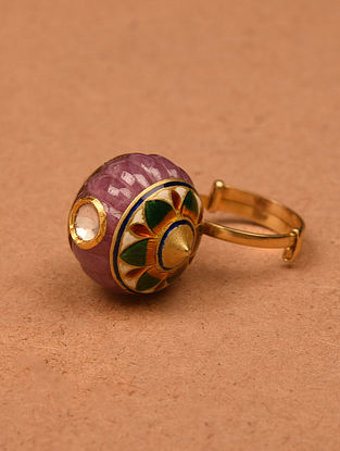 Gold and Diamond Adjustable Ring with Carved Ruby Melon
