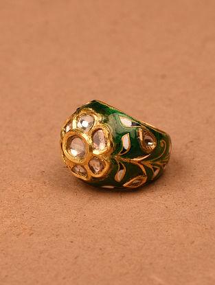 Green White Meenakari Gold and Diamond Ring (Ring Size: 6.5)