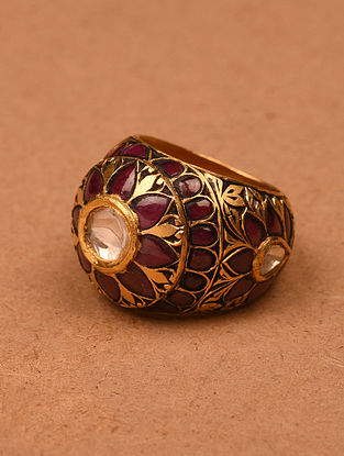 Gold and Diamond Ring with Ruby (Ring Size: 7.5)