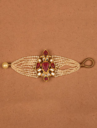 Gold and Diamond Bracelet with Pink Tourmaline and Pearls
