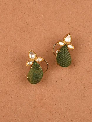 Gold and Diamond Earrings with Carved Emeralds