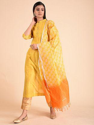 Yellow Block Printed Chanderi Dupatta