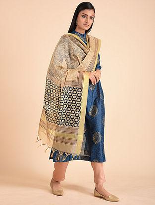 Gold Blue Block Printed Gold Tissue Dupatta