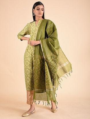 Green Block Printed Chanderi Dupatta
