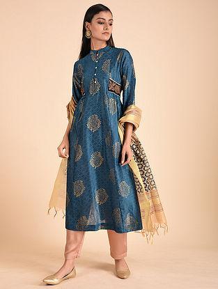 Blue Block Printed Silk Chanderi Kurta with Zardozi Embroidery
