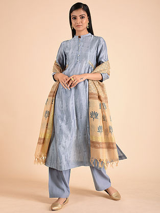 Grey Block Printed Silk Chanderi Kurta with Sequins and Gota Detailing