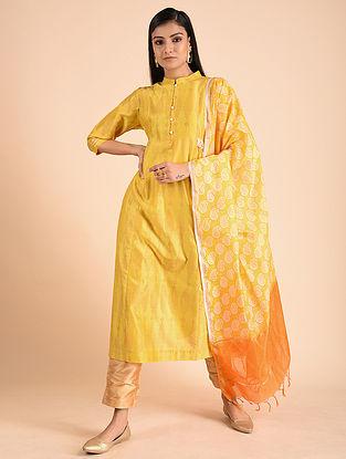 Yellow Block Printed Silk Chanderi Kurta with Zari and Sequins Detailing