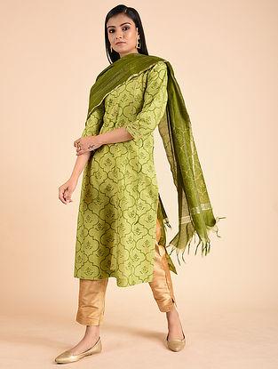 Green Block Printed Silk Chanderi Kurta with Gota Detailing