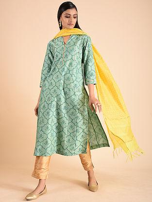 Turquoise Block Printed Silk Chanderi Kurta with Gota Detailing