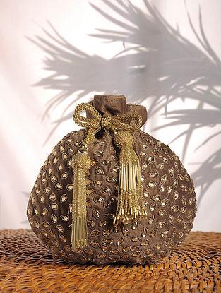 Golden Embellished Silk Potli