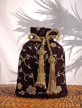 Wine Embroidered Velvet Potli