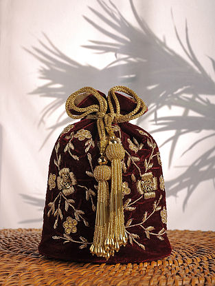 Maroon Zardozi Embroidered Velvet Potli