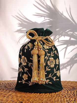 Emerald Zardozi Embroidered Velvet Potli