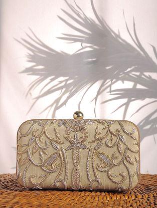Beige Embroidered Raw Silk Clutch