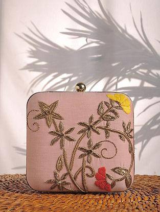 Pastel Zardozi Embroidered Raw Silk Clutch