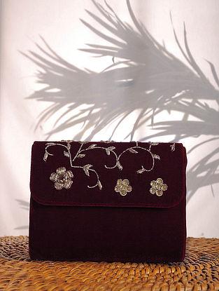 Wine Zardozi Embroidered Velvet Clutch