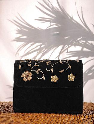 Black Zardozi Embroidered Velvet Clutch