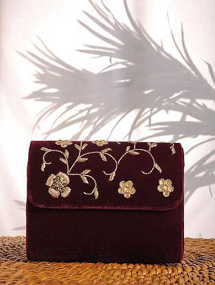 Maroon Zardozi Embroidered Velvet Clutch