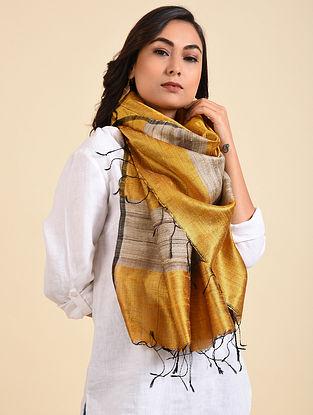 Mustard-Beige Handwoven Tussar Silk Stole