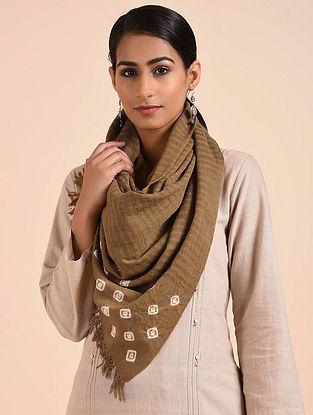 Khaki Bandhani Handwoven Merino Wool Stole