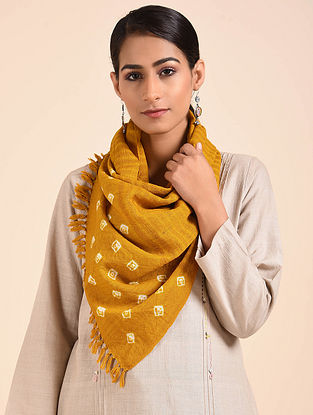 Yellow Bandhani Handwoven Merino Wool Stole