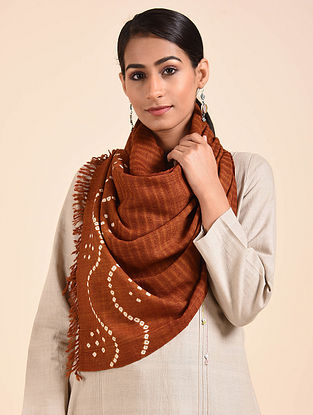 Brown Bandhani Handwoven Merino Wool Stole