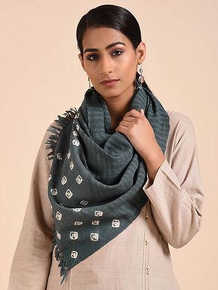 Grey Bandhani Handwoven Merino Wool Stole