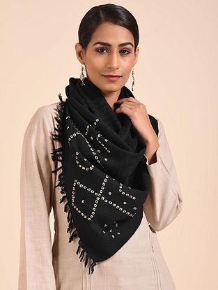 Black Bandhani Handwoven Merino Wool Stole